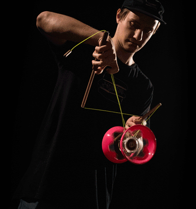 J-SLIDING Diabolo team member from Czech Republic. - Michal Zázrivec with J-SLIDES & team merchandise. - finger trick